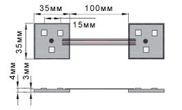 Размеры модуля светодиодного RGB с тремя smd светодиодами