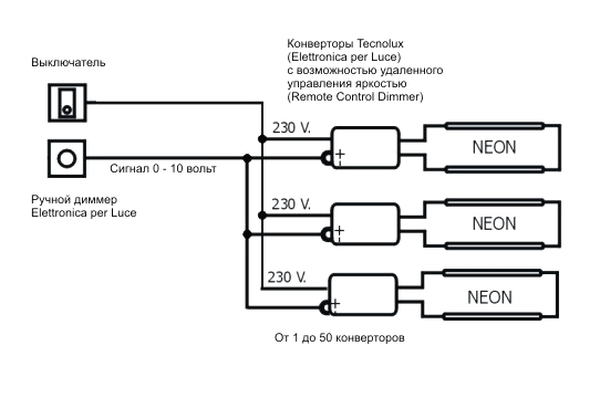 Схема подключения диммера для