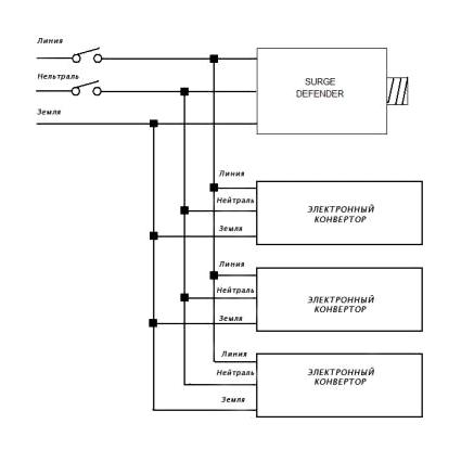 Схема подключения защитного устройства