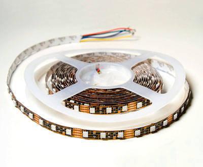 Гибкая плоская интерьерная smd светодиодная RGB лента повышенной яркости, 60 трехкристальных smd светодиодов на метр